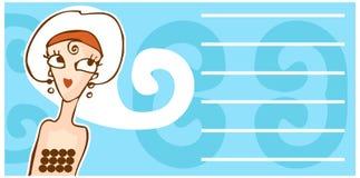 Rétro drapeau de dessin animé de visage de femme Photo stock