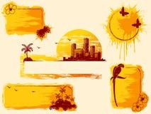 Rétro drapeaux grunges tropicaux dans des sons chauds Photo stock