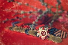 Rétro effet sur la composition en médailles de la grande guerre patriotique Photos libres de droits