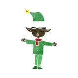 rétro elfe de Noël de bande dessinée Images stock