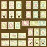Rétro ensemble d'affranchissement heureux de Pâques illustration stock