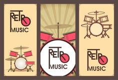 Rétro ensemble de bannière de musique Photo stock