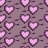 Rétro ensemble de coeur tiré par la main Image stock