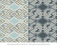 Rétro ensemble de couleur sans couture du fond 2 Diamond Check Cross Geomet illustration de vecteur