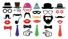 Rétro ensemble de partie Monocle de lien de moustaches de lèvres de chapeaux en verre Vecteur d'isolement Photographie stock