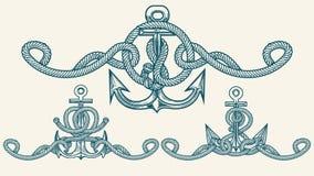 Rétro ensemble nautique d'emblème d'ancre Photo libre de droits