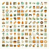 Rétro ensemble plat d'icône de réseau Photographie stock libre de droits