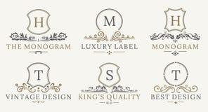 Rétro ensemble royal de Logotype de boucliers de vintage Éléments de luxe de conception de logo de calligraphyc de vecteur Signes Photographie stock libre de droits