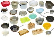 Rétro ensemble utilisé rustique d'équipement de cuisine Photo stock