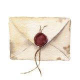 Rétro enveloppe d'aquarelle avec de la cire de cachetage Icône de courrier de vintage d'isolement sur le fond blanc Élément peint Photos stock