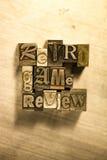 Rétro examen de jeu - Metal le signe de lettrage d'impression typographique Images libres de droits