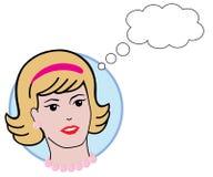 Rétro femme avec le bubbl de pensée Photos stock