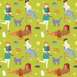 Rétro femme avec le chat Mannequin Seamless Pattern de vintage Fille d'art de bruit Images stock