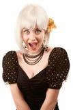 Rétro femme avec le cheveu blanc Image stock