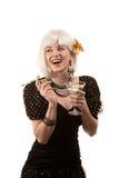 Rétro femme avec le cheveu blanc Images stock