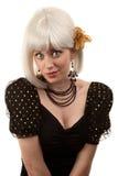 Rétro femme avec le cheveu blanc Photo stock