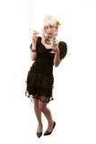 Rétro femme avec le cheveu blanc Photographie stock libre de droits