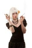 Rétro femme avec le cheveu blanc Photo libre de droits