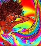 Rétro femme d'Afro dans un style numérique moderne d'art Image libre de droits