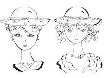 Rétro femme dans des chapeaux illustration stock