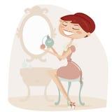 Rétro femme de dessin animé avec le parfum Image stock