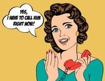 Rétro femme mignonne dans le style de bandes dessinées avec le message Photos libres de droits