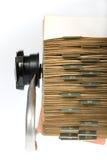 Rétro fichier sur cartes rotatoire Photographie stock libre de droits