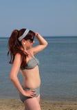Rétro fille à la plage Photos stock