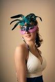 Rétro fille avec le masque Photo stock