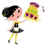 Rétro fille de cuisine avec le grand gâteau fruité Images libres de droits