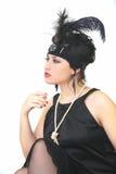 Rétro fille de type posant sur le fond blanc Photographie stock