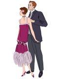 Rétro fond de danse. Couples sur la partie (style des années 1930) illustration stock