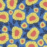 Rétro fond de fleur de style scandinave Configuration florale sans joint de vecteur Fleurs rouges et jaunes sur le fond bleu mode illustration de vecteur
