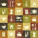 Rétro fond de vecteur de cuisine grunge sans couture Image stock