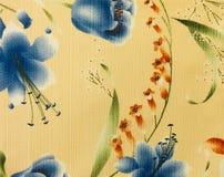 Rétro fond floral bleu de tissu de modèle Photos stock