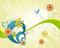 Rétro fond floral grunge coloré Photographie stock libre de droits