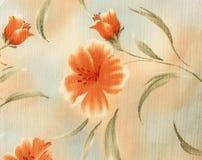 Rétro fond floral orange de tissu de modèle Photos stock