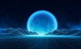 Rétro fond futuriste de vecteur Rétro style du paysage in1980s de Digital Rétro fond de la science fiction Images stock