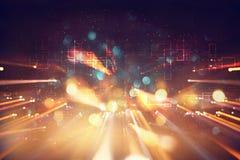 Rétro fond futuriste du rétro style de 80 ` s Digital ou surface de Cyber lampes au néon et modèle géométrique Photos stock