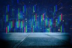 Rétro fond futuriste du rétro style de 80 ` s Digital ou surface de Cyber lampes au néon et modèle géométrique images libres de droits