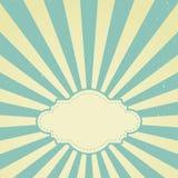 Rétro fond grunge fané de lumière du soleil avec le cadre de vintage pour le texte fond bleu et beige d'éclat de couleur illustration libre de droits