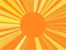 Rétro fond orange Bruit Art Pattern Illustration de vecteur avec des points et des rayons Vue pour le texte Photo libre de droits