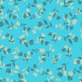 Rétro fond sans couture bleu de fleur Image libre de droits