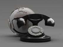 Rétro globe de téléphone et de terre Images libres de droits