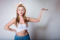 rétro goupille de femme vers le haut de style Photographie stock libre de droits