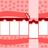 Rétro graphique rose rouge stylisé d'infos d'étapes du blanc cinq Photos stock