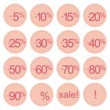Rétro graphismes de vente, collants d'étiquette ou étiquettes roses Images stock