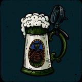 Rétro gravure de tasse de bière de style, de tasse ou en verre illustration libre de droits