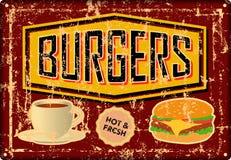 Rétro hamburger grunge, hamburger, signe de bidon de wagon-restaurant, advertis de vintage illustration de vecteur