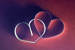 Rétro heureux des textes de forme de coeur Image stock
